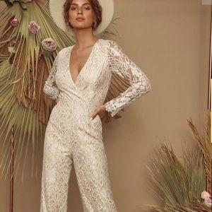 Lulus Big Spender Cream Lace Long Sleeve Jumpsuit